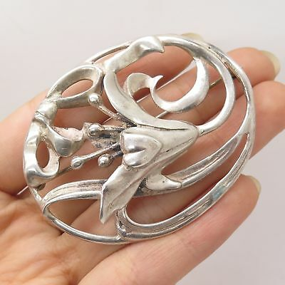 Vtg 925 Sterling Silver Large Lily Floral Openwork Pin Brooch