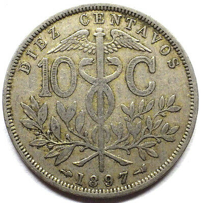 Bolivia  1897 10 Cents Coin Very Nice Km# 174.3