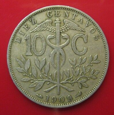 Bolivia  1909 10 Cents Coin Very Nice Km# 174.3