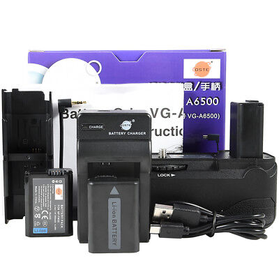 DSTE VG-6500 Battery Grip with 2 NP-FW50 and Charger for Sony A6500 Camera