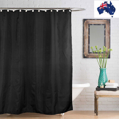 Fabric Bathroom Shower Curtain Plain Mould Resistant Extra Long with Hooks Black