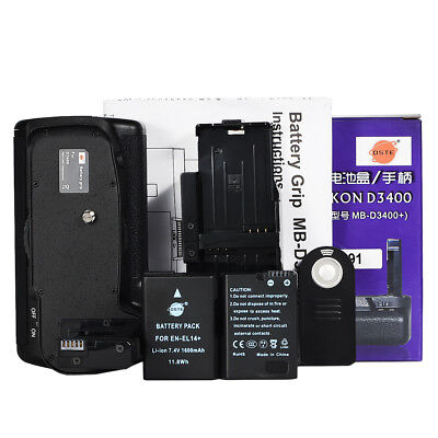DSTE MB-D3400 Battery Grip with Remote for Nikon D3400 with 2PCS ENEL14A Battery