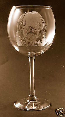 Etched Old English Sheepdog on Elegant Wine Glasses