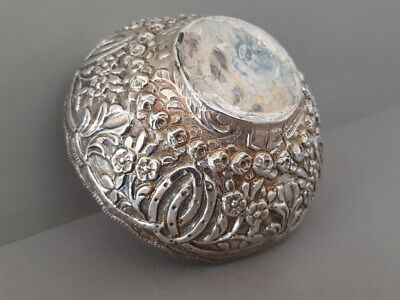 ANTIQUE & ORIGINAL OTTOMAN Hand-forged-engraved STERLING SILVER bowl WITH TUGRA