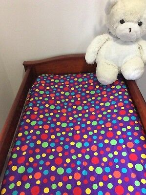 Change Mat Cover/Fitted Bassinet Sheet -  Purple Polka