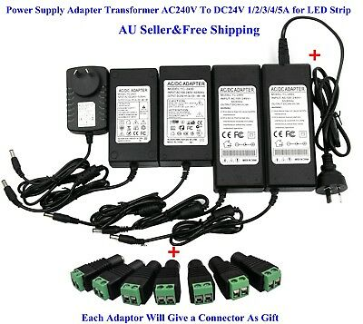 AU Power Supply Adapter Transformer AC240V To DC24V 1/2/3/4/5A for LED Strip