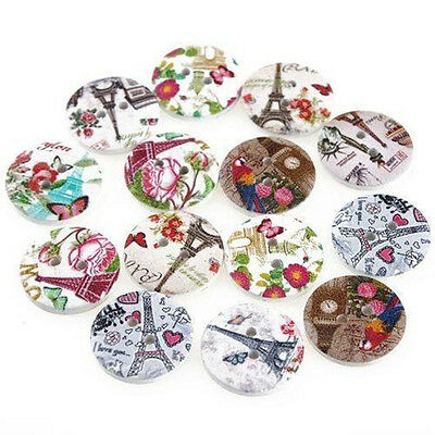Pack of 5 Eiffel Tower Wooden Buttons 20mm 2 holes - Sewing /Craft /Scrapbooking