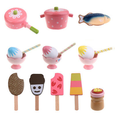 Wooden Pan/ Fish/ Sundae/ Popsicle Pretend Play Kitchen Food Toy Preschool Kids