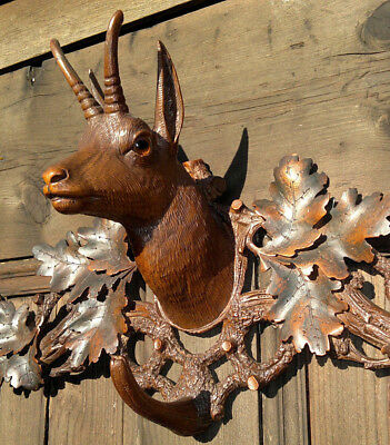 """Antique Black Forest Carved Ibex-Chamois Crop Hat Coat Rack with Glass Eyes 21"""""""