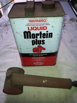 Mortein Plus Insecticide Drum Vintage 1 Gallon Tin and Fly Spray