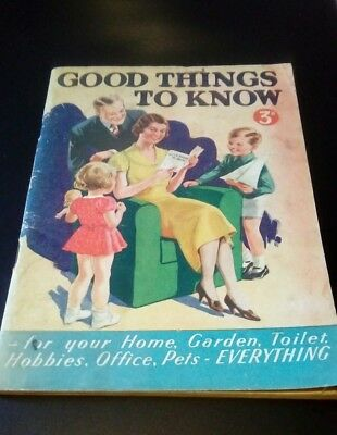 good things to know. original vintage housekeeping tips and ads book.