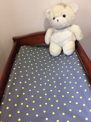 Change Mat Cover/Fitted Bassinet Sheet -  Grey/Yellow Polka