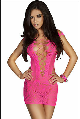 Pink Fishnet Dress Bodysuit Open Weave Front Body Stocking   One Size Fits Most