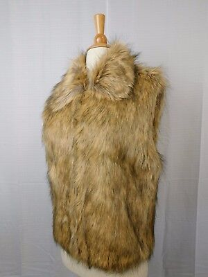 INC Sleeveless Zip-Up Faux Fur Collared Vest Small/Medium Natural Beige #5940