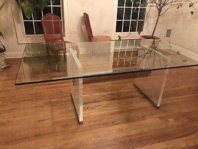 1970s Glass Top Dining Table