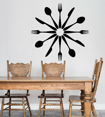Vinyl Wall Decal Cutlery Spoons Forks Kitchen Decor Dining