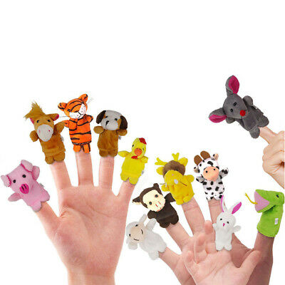 12 Pcs Family Finger Puppets Cloth Doll Baby Educational Hand Cartoon Animal Toy