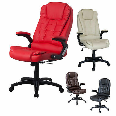 Leather Computer Executive Office Chair PU Reclining Function Swivel High Back