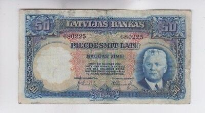 Latvia  Paper Money  one old note vg stains and minor tear