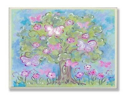 OpenBox The Kids Room by Stupell Pastel Butterfly Tree Rectangle Wall Plaque