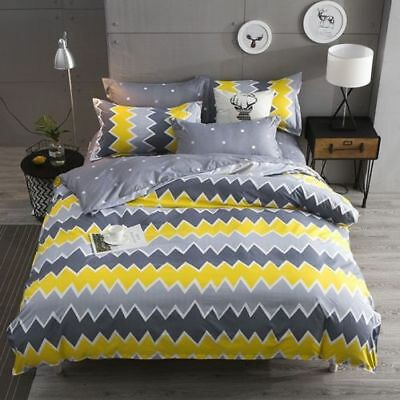 HOT Bedding Set Fashion Duvet Cover+Sheet+Pillow Case Four-Piece Yellow And Gray