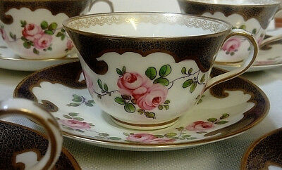 Crown Stafffordshire, Five Hand Painted Very Fine Bone China Roses Cups/saucers
