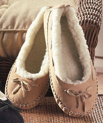 The Lakeside Collection Women's Natural Genuine Suede Moccasins -