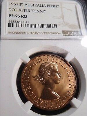 "INV #S24 Australia 1957(P) Penny Dot After ""Penny"" NGC Proof-65 Red"
