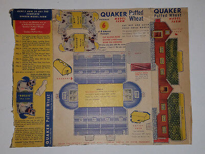 Vintage 1950's Quaker Puffed Wheat Cereal Box Model Farm Package 6