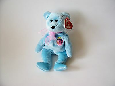 Eggs II Ty Beanie Baby, New, MWMT, 2001, Blue Bear with Egg Embroidery