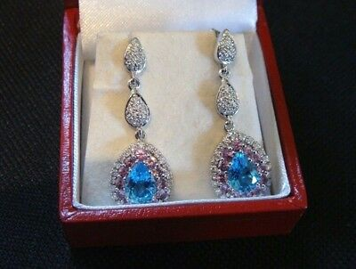 A Pair Of Diamond Blue & Pink Topaz 18Ct White Gold Drop Earrings