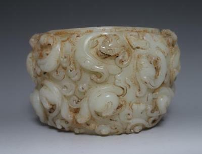 Very Fine Antique Chinese Carved Jade Dragon Brush Washer