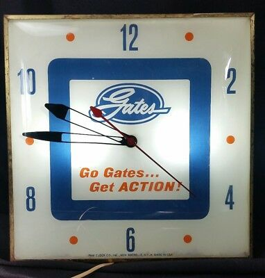 Vintage original Gates Belts Hoses PAM Clock lighted sign working auto parts