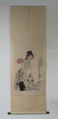 Rare Fine Antique Chinese Baibohua Mark Hand Painting Scroll