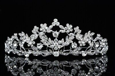 Floral Bridal Headpiece Crystal Rhinestone Prom Wedding Tiara V624