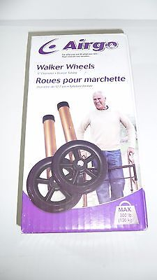 "NEW AIRGO 5"" Walker Wheels Bronze 1"" Tubing 300lb Capacity Adjusts No Mark Tires"