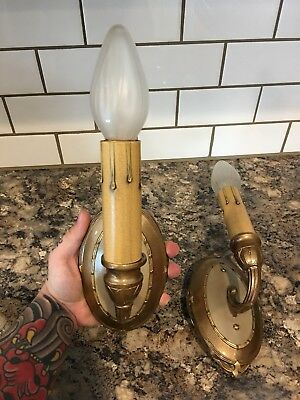 Wired Pair Antique C.B. Rogers Co. Wall Sconce Fixtures 23A