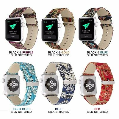 Apple Watch Replacement Band Designer Silk Stitched Genuine Soft Leather - Women
