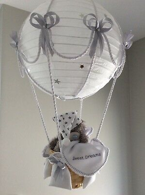 Starry night Hot Air Balloon light shade Silver grey