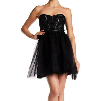 25445e1ee4 NEW PARKER BLACK Strapless Sequined Top Tulle Dress- black XS  450 ...