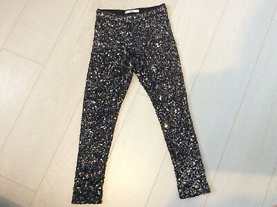 Girls Black / Silver Sequin Leggings (Excellent Condition) Age 9-10 Yrs