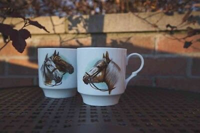 Pair of Vintage Shumann Horse Mugs