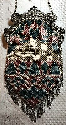 Fine MANDALIAN ART DECO FANCY FLAPPER ENAMEL PAINTED MESH PURSE