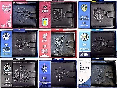 Debossed Crest Rfid Real Leather Football Club Sports Boxed Money Wallet Purse