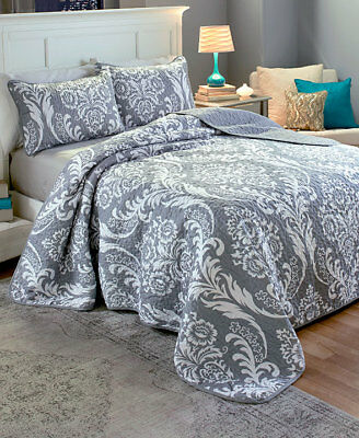 The Lakeside Collection 3-Pc. Damask F/Q Quilt Set Gray