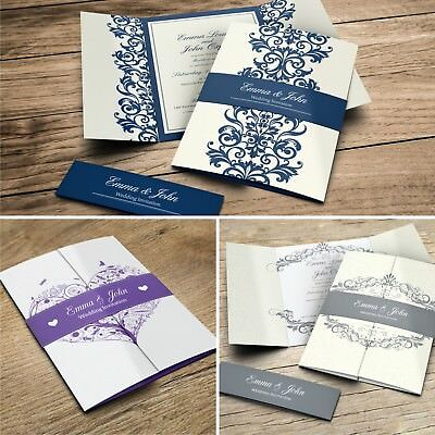 Gatefold Wedding Invitations with Belly Band + Free Envelopes (G6)