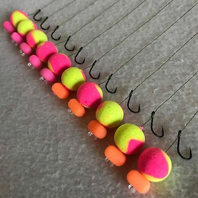 10 X HAIR RIGS PRELOADED WITH 15mm FLURO TWO TONE BANANA & KRILL POPUPS CARP