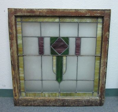 Large (30x31) Beautiful Antique Stained Glass Window Architectural Salvage