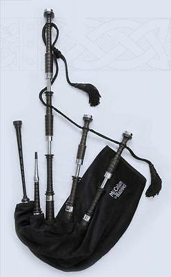 McCallum highland bagpipes pipes with Bannatyne synthetic bag plastic chanter