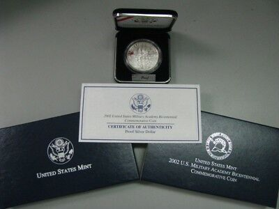 2002 West Point Military Academy Proof Silver Dollar Commemorative Coin US Mint